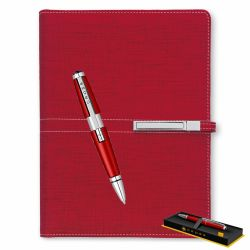 Cadouri Business Set roller Cross Edge cu agenda A5 nedatata rosie