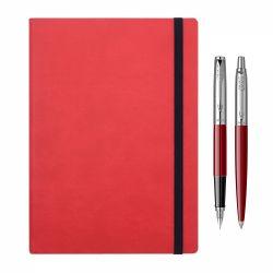 De scris Set Parker stilou si pix Jotter rosu cu agenda