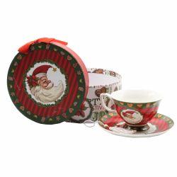 Ornament pentru bradul de Craciun masina rosie  Ceasca ceai cu farfurie Mos Craciun