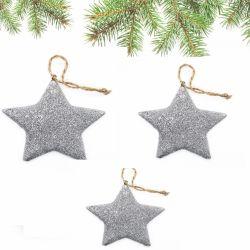 Ornament pentru bradul de Craciun rulota Ornamente pentru bradul de Craciun stelute argintii