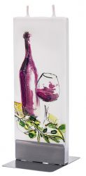 Decoratiuni casa Lumanare plata pictata sticla si pahar de vin Flatyz