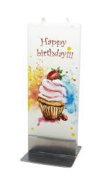 Lumanare plata pictata Happy Birthday Cupcake Flatyz