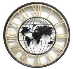 Ceas de perete oval Tonneau Harta Lumii 56x59,5x6,5 cm Ceas perete harta lumii 70 cm