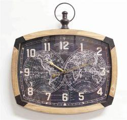Ceas de perete metal cu cifre lemn 60 cm Ceas de perete oval Tonneau Harta Lumii 56x59,5x6,5 cm