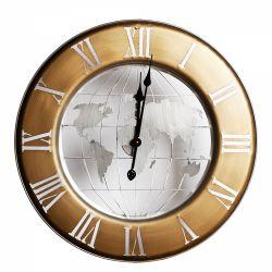 Cadouri Business Ceas de perete metal auriu Harta Lumii 63x4,5 cm