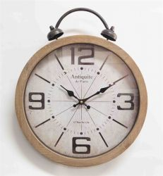 Ceas de perete metal cu cifre lemn 60 cm Ceas de perete cu sonerie 40x48,5x6 cm