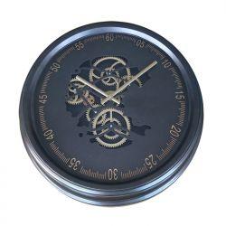 Ceas de perete oval Tonneau Harta Lumii 56x59,5x6,5 cm Ceas de perete cu mecanism Skeleton si geam 52,5x8,5 cm