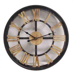 Ceas de perete oval Tonneau Harta Lumii 56x59,5x6,5 cm Ceas de perete metal cu cifre lemn 60 cm