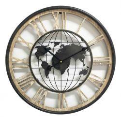Ceas de perete oval Tonneau Harta Lumii 56x59,5x6,5 cm Ceas de perete Harta Lumii 47x4,5 cm