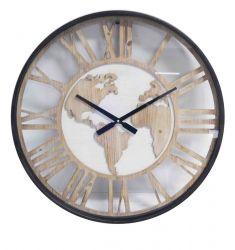 Ceas Antique Black Phone Ceas de perete din lemn Harta Lumii 60 cm