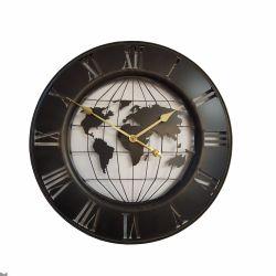 Ceas de perete metal cu cifre lemn 60 cm Ceas de perete Metal,Negru,Harta Lumii 63x4,5 cm