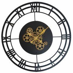 Ceas de perete oval Tonneau Harta Lumii 56x59,5x6,5 cm Ceas perete Metal,Negru cu mecanism 57x5cm