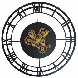 Ceas de perete argintiu cu mecanism si geam 60cm Ceas perete Metal,Negru cu mecanism 57x5cm