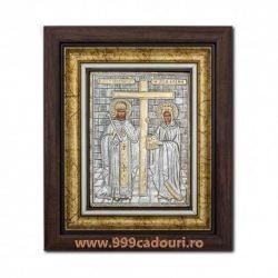 Icoane  Sfintii Constantin si Elena argint in rama