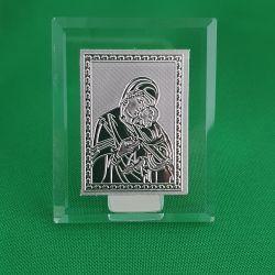 Cadouri Sarbatori  Icoana argintie - cristal