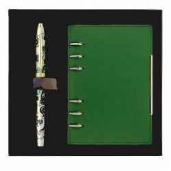 Agende nedatate Stilou Botanica verde Cross cu agenda in caseta cadou