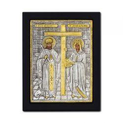 Icoana argint pietre Sfanta Familie Icoana argintata Sfintii Imparati Constantin si Elena 19x26 cm