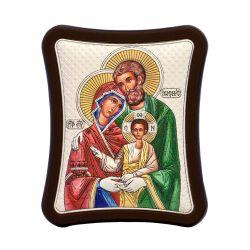 Nunta si Botez Icoana Sf Familie Ag925 lemn 8,5x10cm