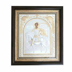 Icoana argint pietre Sfanta Familie Icoana argint Sfantul Dumitru rama 15.5x17