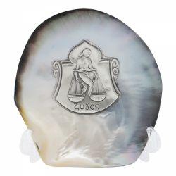 Decoratiuni Placheta argint zodia BALANTA pe scoica perlifera