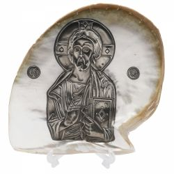 Icoana Maica Domnului Ierusalim Icoana argint pe scoica Iisus