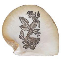 Decoratiuni Placheta argint trandafir pe scoica perlifera