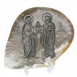 Decoratiuni Icoana argint pe scoica Petru si Pavel