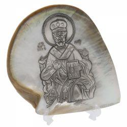 Decoratiuni Icoana argint pe scoica Sfantul Nicolae