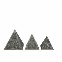 Decoratiune pisici Portelan Argint  Set 3 Casete Metal Piramida