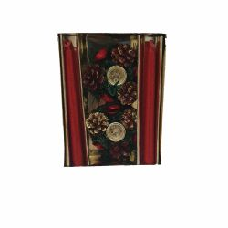 Vaza Isthmus Selangor 12 x 20 cm Decoratiune Craciun set doua lumanari rosii