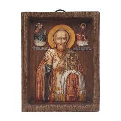 Icoane  Icoana lemn pictata relief Sfantul Nicolae