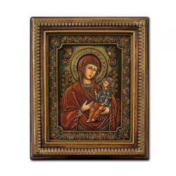 Cadouri Sarbatori  Icoana lemn pictat in relief  Maica Domnului