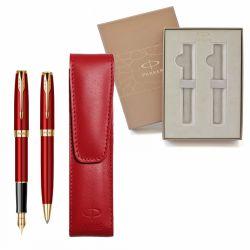 Seturi instrumente de scris Set Parker Sonnet rosu accesorii aurite cu etui piele