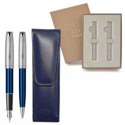 Seturi instrumente de scris Set Parker Sonnet albastru cu etui piele naturala