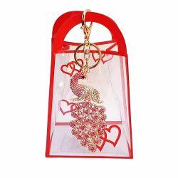 Breloc paun roz pentru geanta de dama