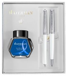 Instrumente de scris Set Waterman stilou si pix Hemisphere Deluxe Metal White