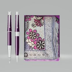 Cadouri Sarbatori  Set Cross pix si stilou Beverly Deep Purple Lacquer CT