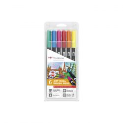 Set Tombow Creativ ABT Dual Brush Pen Derma 6 culori