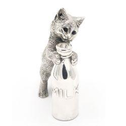 Decoratiune pisici Portelan Argint  Decoratiune Pisica cu sticla de lapte  Portelan Argint