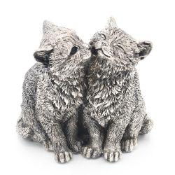 Decoratiune pisici Portelan Argint