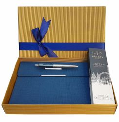 Set pix Parker Jotter London blue cu notes plic