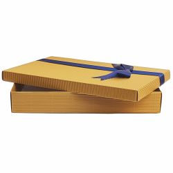 Cutii cadouri Cutie din carton auriu cu panglica si funda