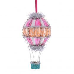 Figurina Mos Craciun Ornament pentru bradul de Craciun balon aer cald roz