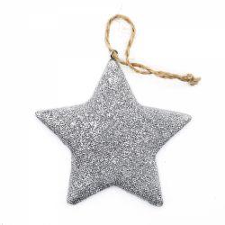 Figurina Mos Craciun Ornament pentru bradul de Craciun stea argintie