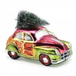 Set 2 cesti cu farfurie din portelan Christmas Ornament pentru bradul de Craciun masina vintage