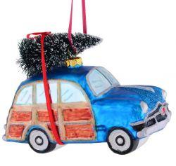 Ornament pentru bradul de Craciun inima/stea/ glob Ornament pentru brad masina vintage albastra
