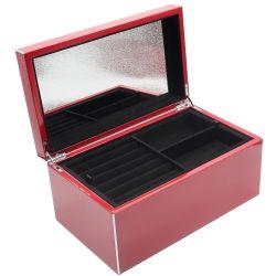 Cufar mic lemn si piele Cutie pentru bijuterii lac rosu