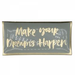 Decoratiune pisici Portelan Argint  Farfurie decorativa Make your dreams happen