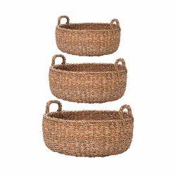 Decoratiune pisici Portelan Argint  Set 3 cosuri din iarba de mare pentru depozitare cu maner L