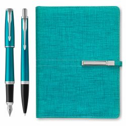 Cadouri Business Set Parker pix + stilou Urban blue si organizer A5